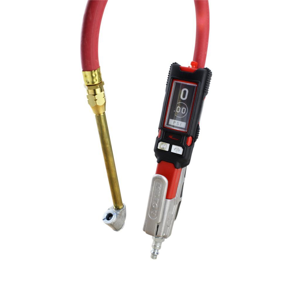 Milton Digital Tire Inflator Pressure Gauge 15 in. Air Hose (160 PSI) ± 0.05% Accuracy with Swivel Dual Head Air Chuck