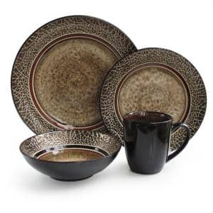 Markham 16-Piece Casual Black/Brown Stone Dinnerware Set (Service for 4)