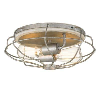 Cyclone 13 in. D x 5.25 in. H 2-Light Galvanized and Ocala Oak Flush Mount