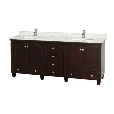Acclaim 80 in. Double Vanity in Espresso with Marble Vanity Top in Carrara White and Square Sinks