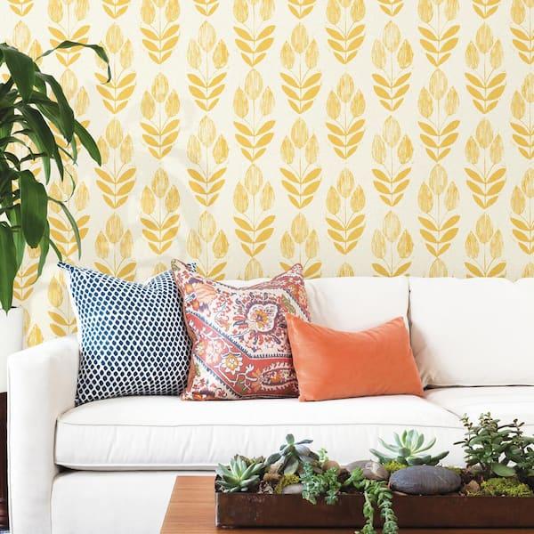 Beacon House - Scandinavian Yellow Block Print Tulip Strippable Roll Wallpaper (Covers 56 sq. ft.)