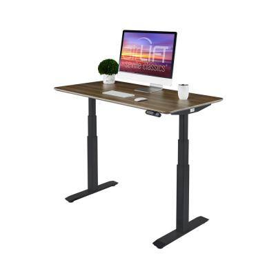 54 in. Rectangular Ash/Black Standing Desks with Adjustable Height