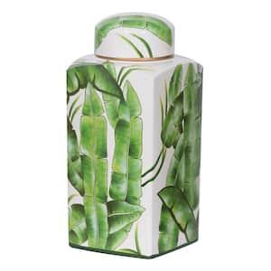 14 in. Green, White Lovise Palm Square Jar