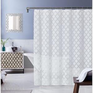 Katie 70 in. x 72 in. White Shower Curtain