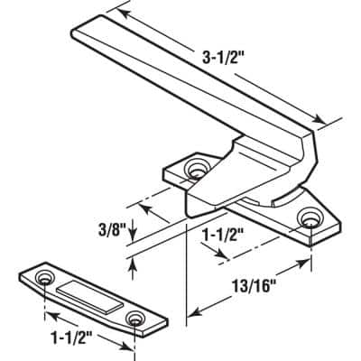 Left-Handed, White, Casement Locking Handle with Offset Base