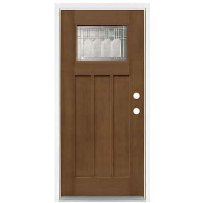 36 in. x 80 in. Medium Oak Left-Hand Inswing 1-Lite Vintage Classic Craftsman Stained Fiberglass Prehung Front Door