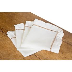 Hemstitch/Ruffle 20 in. x 20 in. Trim White and Natural Hemstitch Napkins (Set of 4)