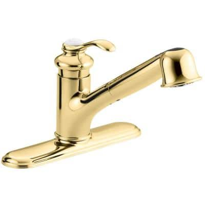 Fairfax Single-Handle Pull-Out Sprayer Kitchen Faucet In Vibrant Polished Brass