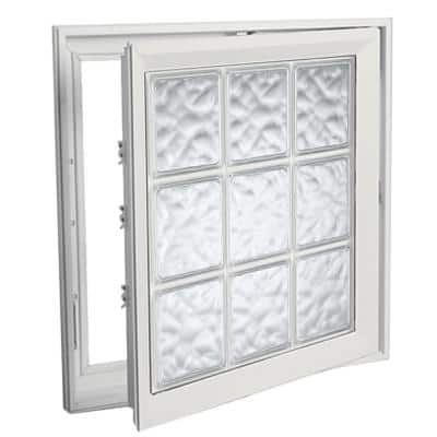 29 in. x 29 in. Right-Hand Acrylic Block Casement Vinyl Window with White Interior and Exterior