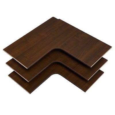 30 in. D x 30 in. W Espresso Wood Corner Shelf (3-Pack)