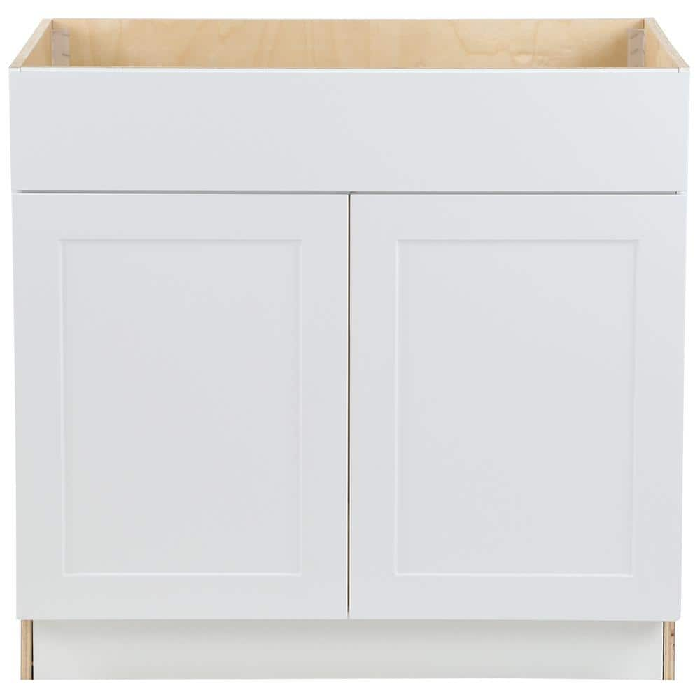 Hampton Bay Cambridge Shaker Assembled 36x34 5x24 5 In Sink Base Cabinet W False Drawer Front 2 Soft Close Doors In White Cm3635s Wh The Home Depot