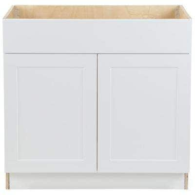 Cambridge White Plywood Shaker Assembled Sink Base Cabinet with False Drawer Front & Soft Close Doors (36x34.5x24.5 in.)