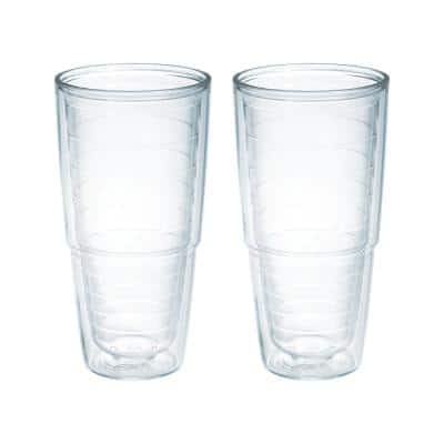 Clear 24 oz. 2-Pack Plastic Double Walled Insulated Tumbler No Lid
