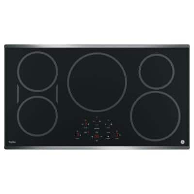 Profile 36 in. Electric Induction Cooktop in Stainless Steel with 5 Elements and Exact Fit