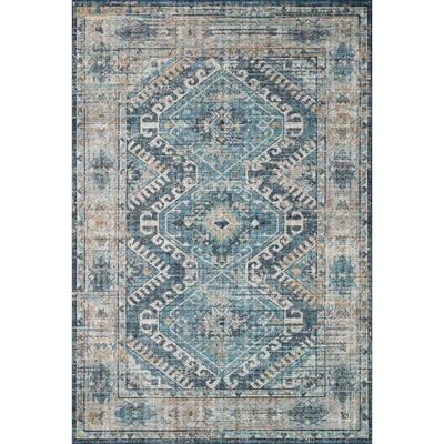 Skye Denim/Natural 9 ft. x 12 ft. Traditional Polyester Pile Area Rug