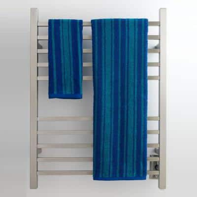 Radiant Square 10-Bar Hardwired Electric Towel Warmer in Brushed Stainless Steel