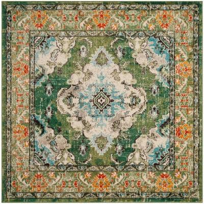 Monaco Forest Green/Light Blue 9 ft. x 9 ft. Square Area Rug