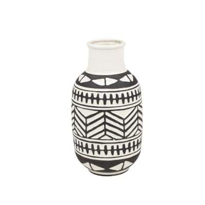15 in. Round Waterproof Black and White Ceramic Decorative Vase with Eclectic Geometric Pattern