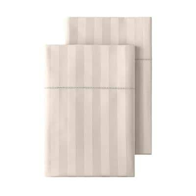 500 Thread Count Egyptian Cotton Sateen Standard Pillowcase in Biscuit Damask (Set of 2)