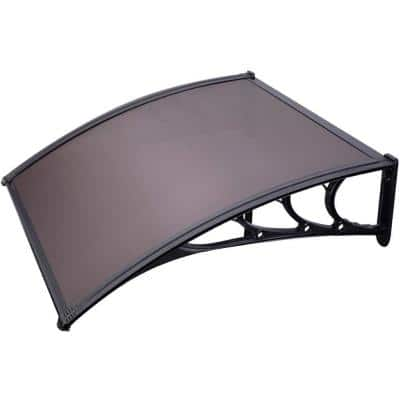 3.3 ft. Polycarbonate Window Awning (40 in. x 40 in.) in Brown and Black Bracket
