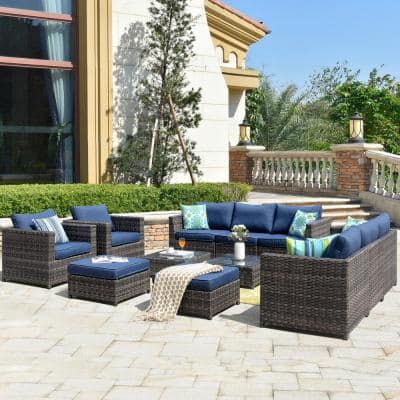 Ontario Lake Gray 12-Piece Wicker Outdoor Patio Conversation Seating Set with Denim Blue Cushions