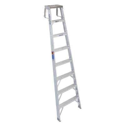 8 ft. Aluminum Shelf Step Ladder with 300 lb. Load Capacity Type IA Duty Rating
