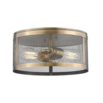 Rakel 2-Light Natural Brass Flush Mount with Natural Brass Steel Shade