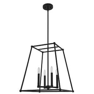 Madison 18 in. 4-Light Black Geometric Pendant