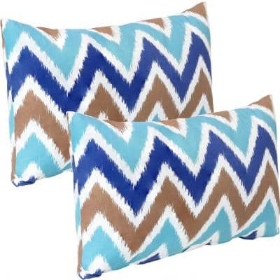 20 in. Chevron Bliss Outdoor Lumbar Throw Pillow Covers (Set of 2)
