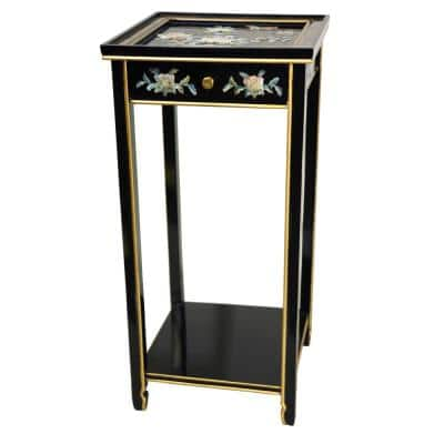 14 in. Lacquer Birds and Flowers Oriental Pedestal in Black