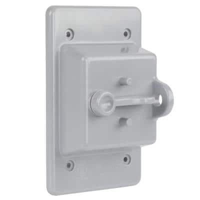 Gray 1-Gang Non-Metallic Weatherproof Toggle Switch Cover