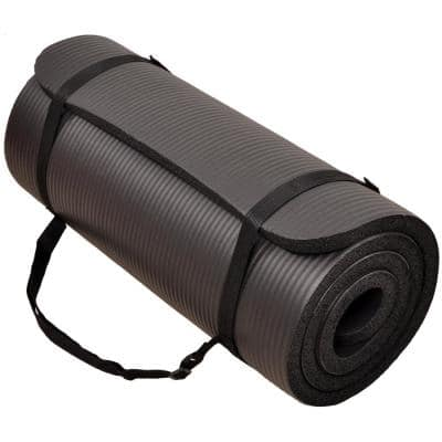 Multi-Purpose Black 24 in. W x 68 in. L x 1/4 in. Thick Foam Exercise Yoga Mat with Carrying Strap (11.8 sq. ft.)