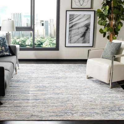 Amelia Ivory/Blue 9 ft. x 12 ft. Abstract Striped Area Rug