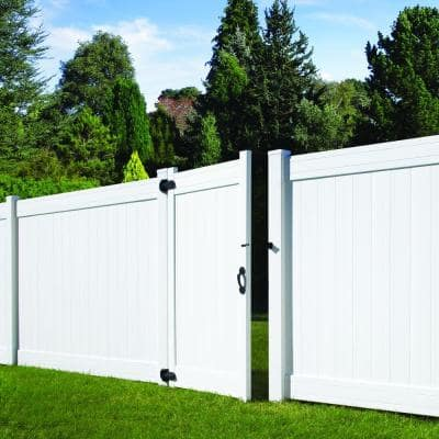 5 in. x 5 in. x 8 ft. Fairfax White Vinyl Privacy Fence End Post