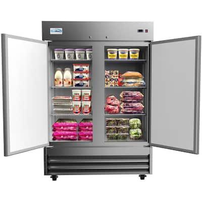 54 in. 47 cu. ft. Commercial 2-Door Reach In Refrigerator in Stainless Steel