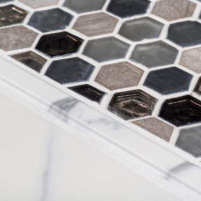 Carrara Inkjet White .75 in. x 12 in. Matte Ceramic Wall Pencil Tile (1 Linear Foot)