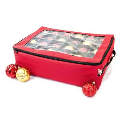 2-Tray Christmas Ornament Storage Box with Top Window (48 Ornaments)