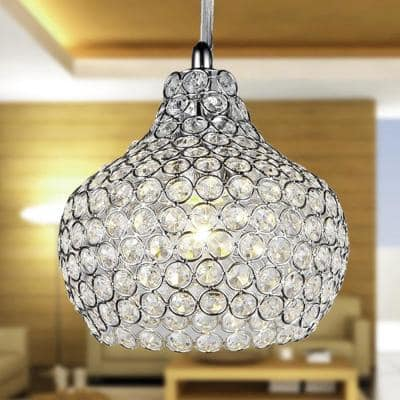 Kiss 7 in. 1-Light Indoor Chrome Chandelier with Light Kit