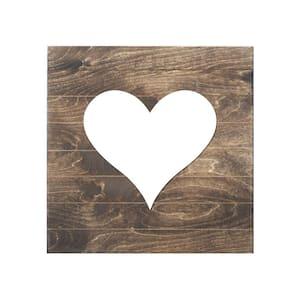 Heart Wood Slat Board, Brown, Black Heart, Memo Board
