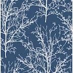 Tree Branches Coastal Blue Botanical Vinyl Peel & Stick Wallpaper Roll (Covers 30.75 Sq. Ft.)