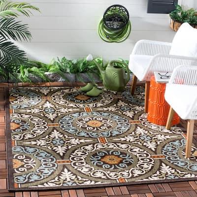Veranda Chocolate/Aqua 3 ft. x 3 ft. Border Geometric Indoor/Outdoor Square Area Rug
