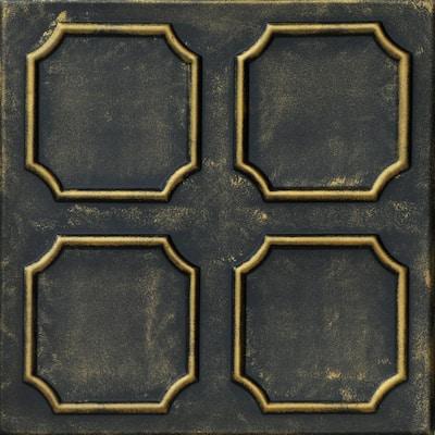 Bostonian 1.6 ft. x 1.6 ft. Glue Up Foam Ceiling Tile in Black Brass