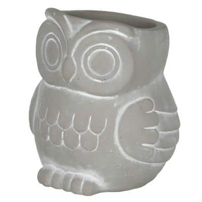 Small Natural Cement Owl Planter