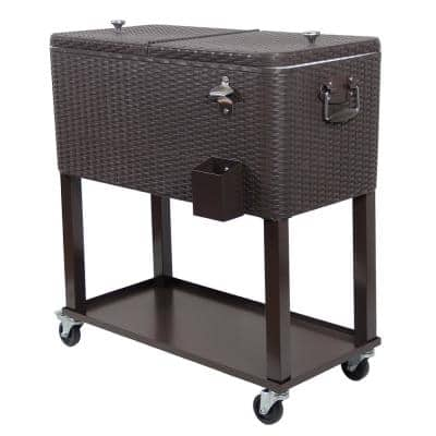 80 Qt. Wicker Stainless Steel Wicker Patio Cooler Cart with Wheels in Brown