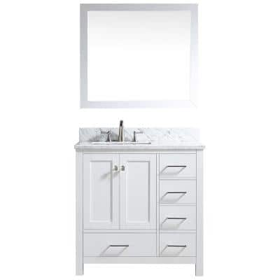 35 in. H x 36 in. W x 22.05 in. D Single Sink Carrara White Marble Vanity with Mirror in White