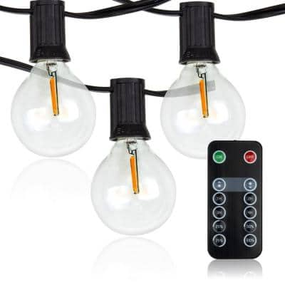 LED Outdoor 50 ft. Plug-In Globe Bulb String Light with 25 Sockets and 100-Watt Dimmer, Remote Control and 2 Extra Bulbs