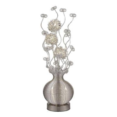 Lazelle 34.5 in. Silver Contemporary Floral Display Floor Lamp