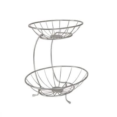 Yumi Mini 2-Tier Server Baskets, For Fruit, Produce, Bread, K-Cups, Snacks & More, Satin Nickel