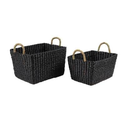 Large Rectangular Handwoven Black Water Hyacinth Wicker Baskets with Banana Leaf Handles (Set of 2)
