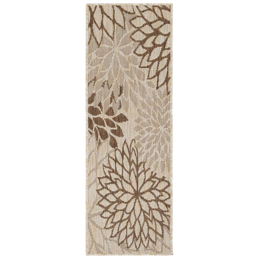 Ottomanson Jardin Collection Beige 2 Ft X 5 Ft Leaves Design Indoor Outdoor Runner Rug Jrd7101 2x5 The Home Depot